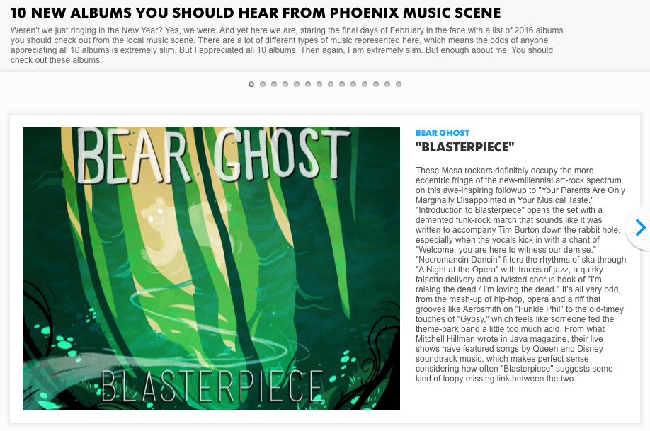 Bear Ghost album heralded by AZ Central